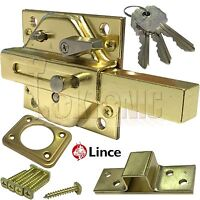 Lince Brass Lock High Security Heavy Duty Garden Gate Shed Rim Sliding Dead Bolt