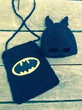 Batman hat and cape. Newborn bat hero.