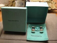 TIFFANY & COMPANY PRE-OWNED STERLING SILVER SQUARE CUFFLINKS BOX AND POUCH