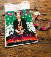 summer frida Kahlo flowers chic white woman t-shirt S,M,L,XL,2X