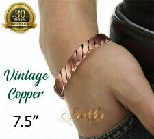 PURE SOLID COPPER MAGNETIC TWISTED MEN VTG BANGLE/BRACELET ARTHRITIS CB22X