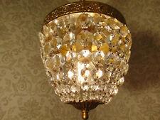 antik alte Plafoniere Lüster Messing Bronze Altgold original Kristall ca. 1920