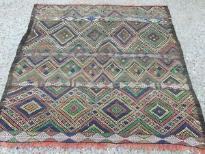 Antique Moroccan Kilim Rug shabby vintage old wool country home Kelim 112x112cm