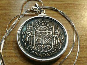 "Superb 1943 Canada Silver 50 cent bezel Pendant & 18"" Italian Silver Chain."
