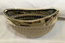 Oval Shaped Decorative Bowl By Design Pac.  Shiny Gold Trim. Large Solid
