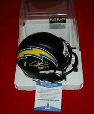 LADAINIAN TOMLINSON  signed FLAT BLACK mini helmet HOF 17 Beckett COA