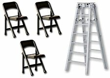 "6"" SILVER FOLDING LADDER & 3 BLACK CHAIRS - Wrestling Figure Accessories WWE/TNA"