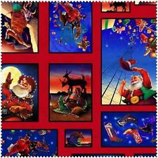 Elizabeth's Studio Cowboy Santa ES 2705 Red Santa Sampler Bty Cotton Fabric