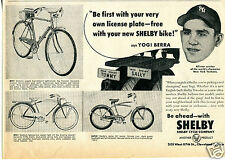1954 AMF Shelby Cycle Co Bicycle Print Ad with New York Yankees Yogi Berra
