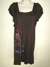 ED HARDY Brown Knit Rhinestone Dress S