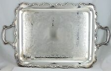 ANTIQUE SILVER PLATE SERVING BUTLERS TRAY ENGRAVED WEBSTER WILCOX JOANNE