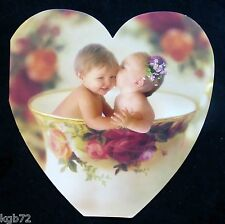 Leanin Tree Valentine Card Valentine's Day Floral Heart Tea Cup Babies Love V56