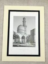 1857 Antique Islamic Art Print Mosque of El Gaouly Cairo Egypt Old Engraving