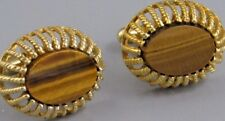 Excellent Mens Tiger Eye CUFFLINKS Costume Vintage Jewelry O 37