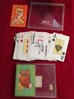 VINTAGE HOYLE PLASTIC COATED DOUBLE DECK PLAYING CARDS OWL AND CAT..CUTE SO 60'S