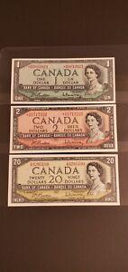 Three (3) of 1954 Canada Banknotes. $1, $2 & $20. RARE PREFIXES. Very High Grade