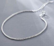 "Women 925 Sterling Silver Star Shining Bling Silver Rope Chain Bracelet 6.5-7.8"""