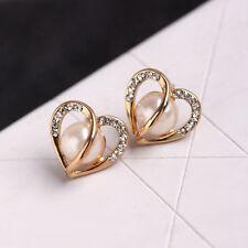 Fashion Women Gift Ear Jewelry Rose Gold Hollow Heart Rhinestone Pearl Earrings