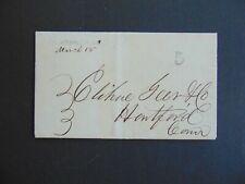c.1847 STAMPLESS FOLDED LETTER WEST MERIDEN CT STRAIGHT-LINE POSTMARK
