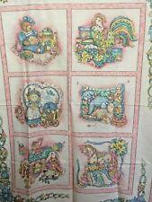 Vintage Baby Fabric Pink Quilt Top Pillow Panel wall hanging pastel prim lamb