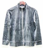 Karen Scott Women's Size P Sweater Jacket Long Sleeve Zipper Front Closure Gray