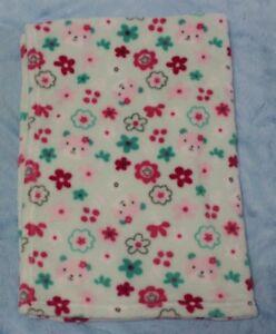 Baby Gear Aqua green pink bear face floral fleece Baby Blanket