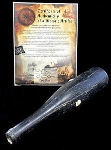 "c. 1800's BLACK GLASS WINE 14"" BOTTLE SEA SALVAGED ARTIFACT PORT CHARLOTTE USVI"