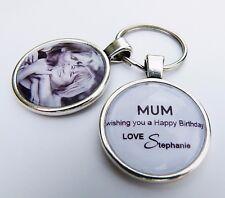 Personalizzata Happy Birthday Mum PORTACHIAVI IDEA REGALO (Photo & nome INSER)