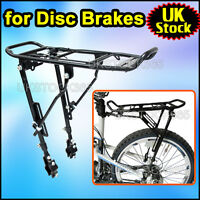 """ALLOY BIKE Bicycle DISC BRAKE REAR RACK ADJUSTABLE FOR 24-28"""" 25KG Carrier UK"""