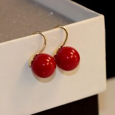 Boucles d'Oreilles Doré Plaqué Or 18K Perle Rouge 12mm Class Mariage BB15