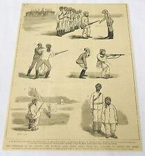 1884 magazine engraving ~ REBELLION IN THE SUDAN Baker Pasha gun firing practice