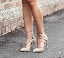 "TONY BIANCO ""FOXI"" Nude Lace-Up Suede Stiletto Heels Size 7.5"