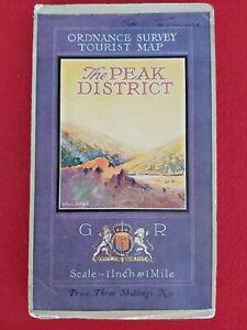 "THE PEAK DISTRICT ORDNANCE SURVEY 1"" MAP ON CLOTH 1924 REVISED 1933"