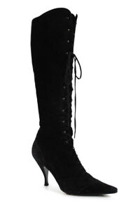 Michel Perry Womens Suede Lace Up Knee High Boots Black Size 38.5 8.5