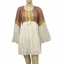 5288 New Free People Floral Printed Long Sleeves White Cotton Tunic Dress M 8
