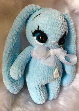 Conejo de juguete azul bebé hechos a mano apoyos de la foto de Peluche Hilo De Punto Toodler tamaño 8 pulgadas
