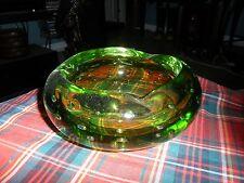 Vintage Mid Century Art Glass GREEN BUBBLE GLASS ASHTRAY BOWL Murano Style