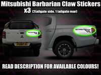 MITSUBISHI BARBARIAN Claw CUSTOM Rear Tailgate decal stickers 3 piece set L200