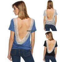 Women o-neck Short Sleeve Backless splicing loose tee Blouse Tops t-shirt S-2XL