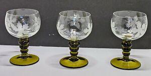 Set of 3 Vintage German Glass Roemer Rhine Wine Glasses Olive Green Stem Goblets