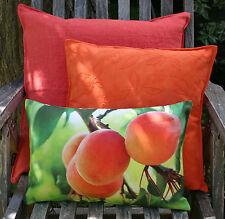 Kissen Kissenhülle Sweet 27x43 Aprikosen auf Mira orange grün Proflax