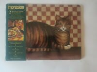 NEW Taby Cat  Cork-Backed Hardboard Set of 2 Placemats 16x11.75 Made in England