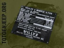 PLAQUETTE DATA PLATE REMORQUE WILLYS EARLY JEEP WILLYS GPW US WW2
