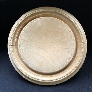 Antique/ Vintage Round Wooden Carved Bread Board Circular Wood Serving Rustic
