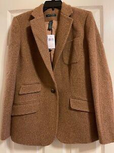 NWT Lauren Ralph Lauren Women's Herringbone Wool Blend Blazer Jacket Size 12