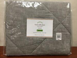 NEW Pottery Barn Rustic Luxe Linen Silk Quilt Pillow Sham Std King Grey Blue $59