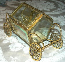 GLASS & ORMOLU COACH or CARRIAGE on WHEELS JEWEL CASKET BOX