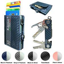 Porta Carte Di Credito RFID Portafoglio Uomo Slim Pelle Blu Verticale Piccolo