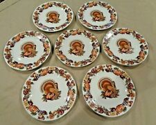 Autumn/Turkey Themed Salad/Dessert Plates - Set of 7