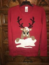 Reindeer Christmas Sweater Red Super Soft Features Real Jingle Bells M (8-10)